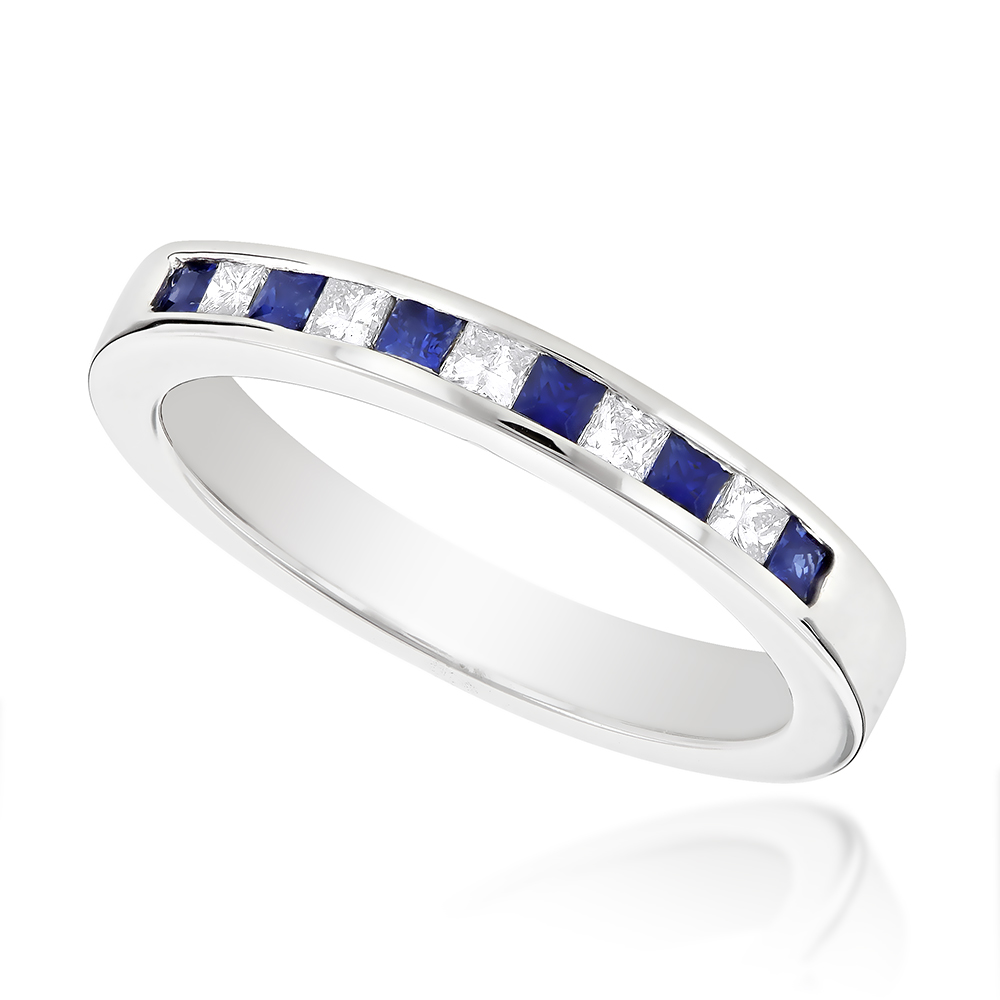 Channel Set Princess Cut Sapphire and Diamond Ring 14K Gold 0.15ctd, 0.18cts White Image