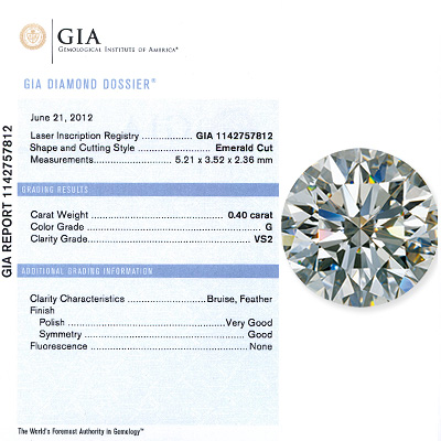 0.40CT Emerald  Cut Diamond G VS2 GIA Certified 040ct-emerald-cut-diamond-g-vs2-gia-certified_1