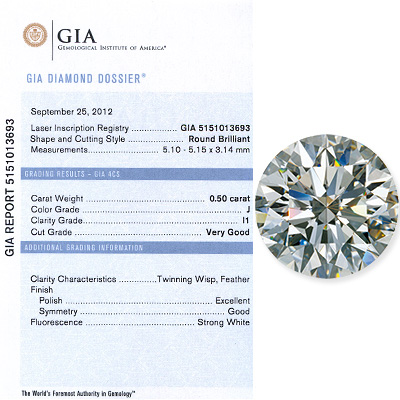 0.50 CT Round Cut Diamind J I1 GIA Certified