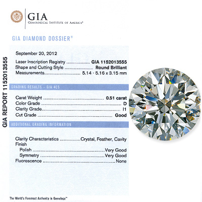 0.51 CT Round Cut  Diamond D I1 GIA Certified