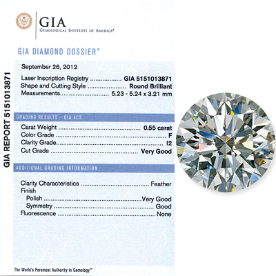 0.55 CT Round Cut  Diamond F I1 GIA Certified 055-ct-round-cut-diamond-f-i1-gia-certified_1