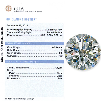 0.55 CT Round Cut Diamond L Si1 GIA Certified