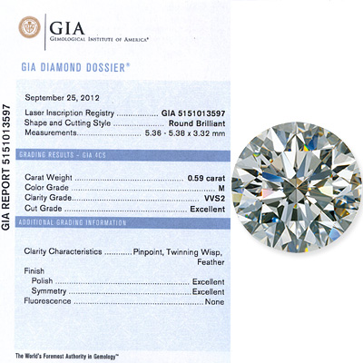 0.59 CT Round Cut Diamond M VVS2 GIA Certified