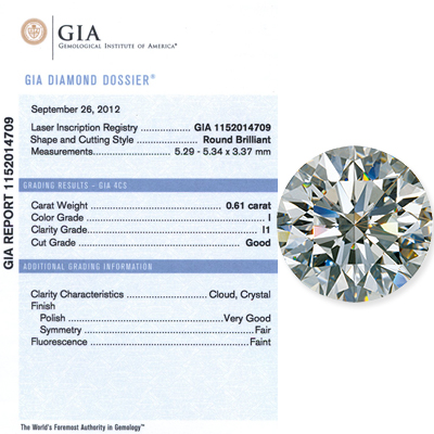 0.61 CT Round Cut Diamond I I1 GIA Certified 061-ct-round-cut-diamond-i-i1-gia-certified_1