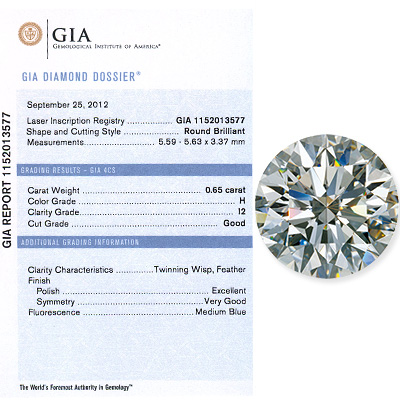 0.65 CT Round Cut Diamond H I1 GIA Certified