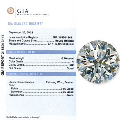 0.70 CT Round Cut Diamond H SI2 GIA Certified 070-ct-round-cut-diamond-h-si2-gia-certified_1