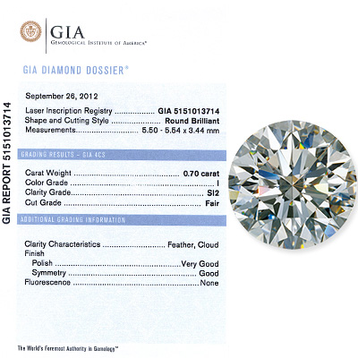 0.70 CT Round Cut Diamond I SI2 GIA Certified 070-ct-round-cut-diamond-i-si2-gia-certified_1