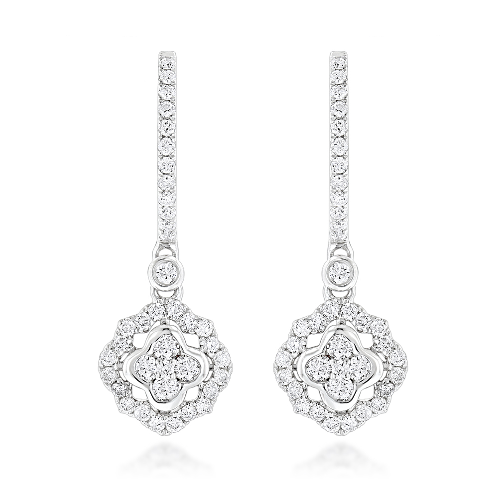 1 Carat 14K Gold Diamond Drop Earrings for Women by Luxurman