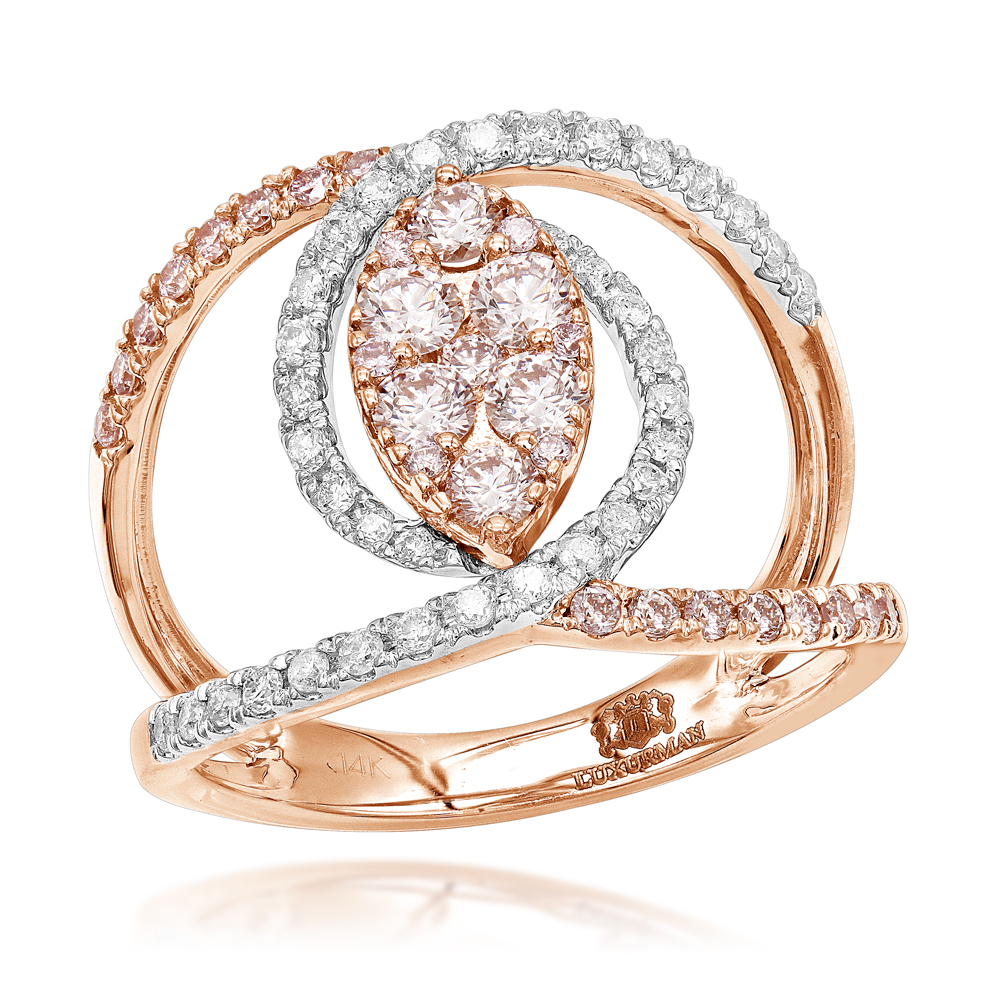 1 Carat 14K Gold Unique Right Hand Rings: White Pink Diamond Womens Ring