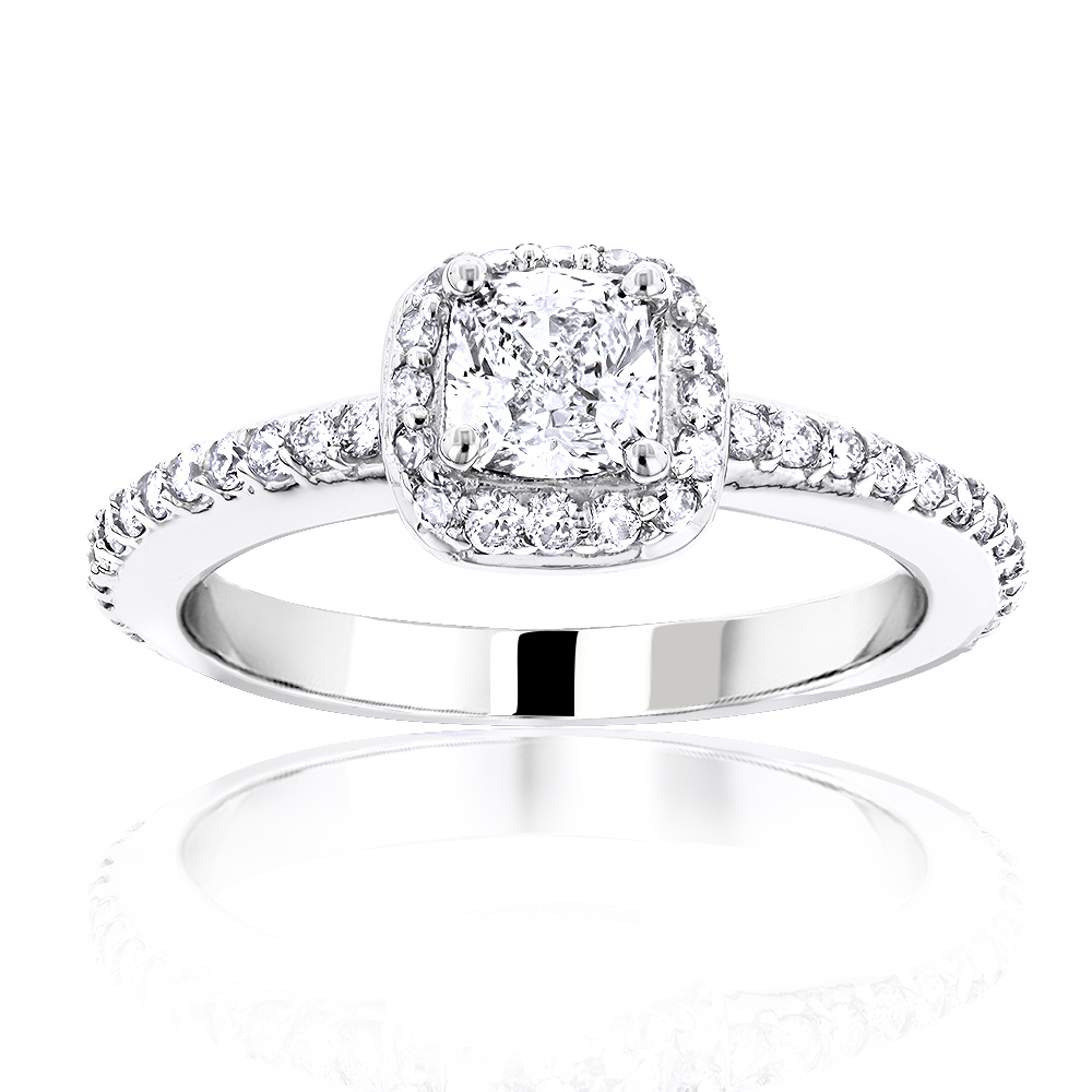 1 Carat Cushion Cut Diamond Engagement Ring 14K Gold Halo ...