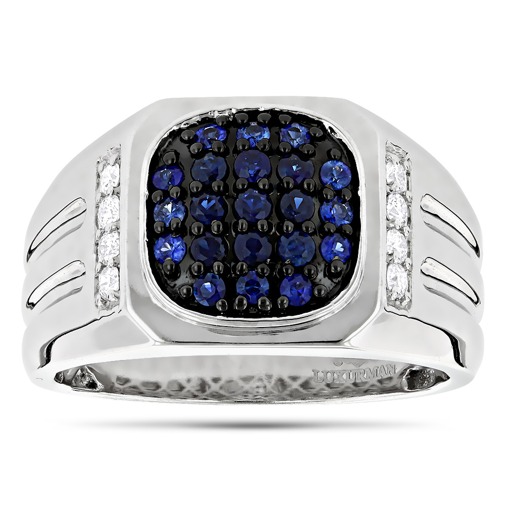 1 Carat Diamond And Blue Sapphires Mens Ring 14k Gold