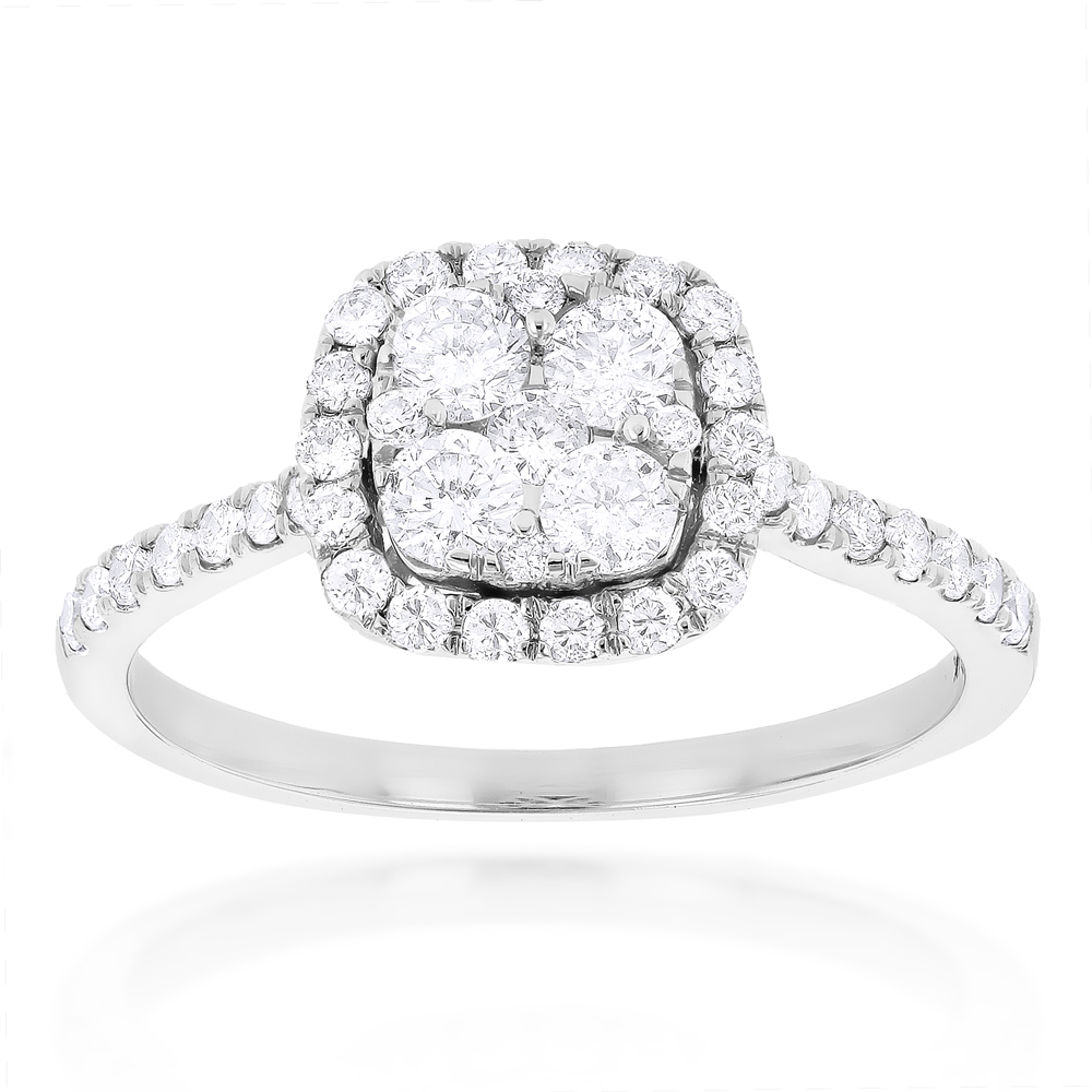 1 carat Diamond Engagement Ring Halo Cluster Setting 14k Gold White Image