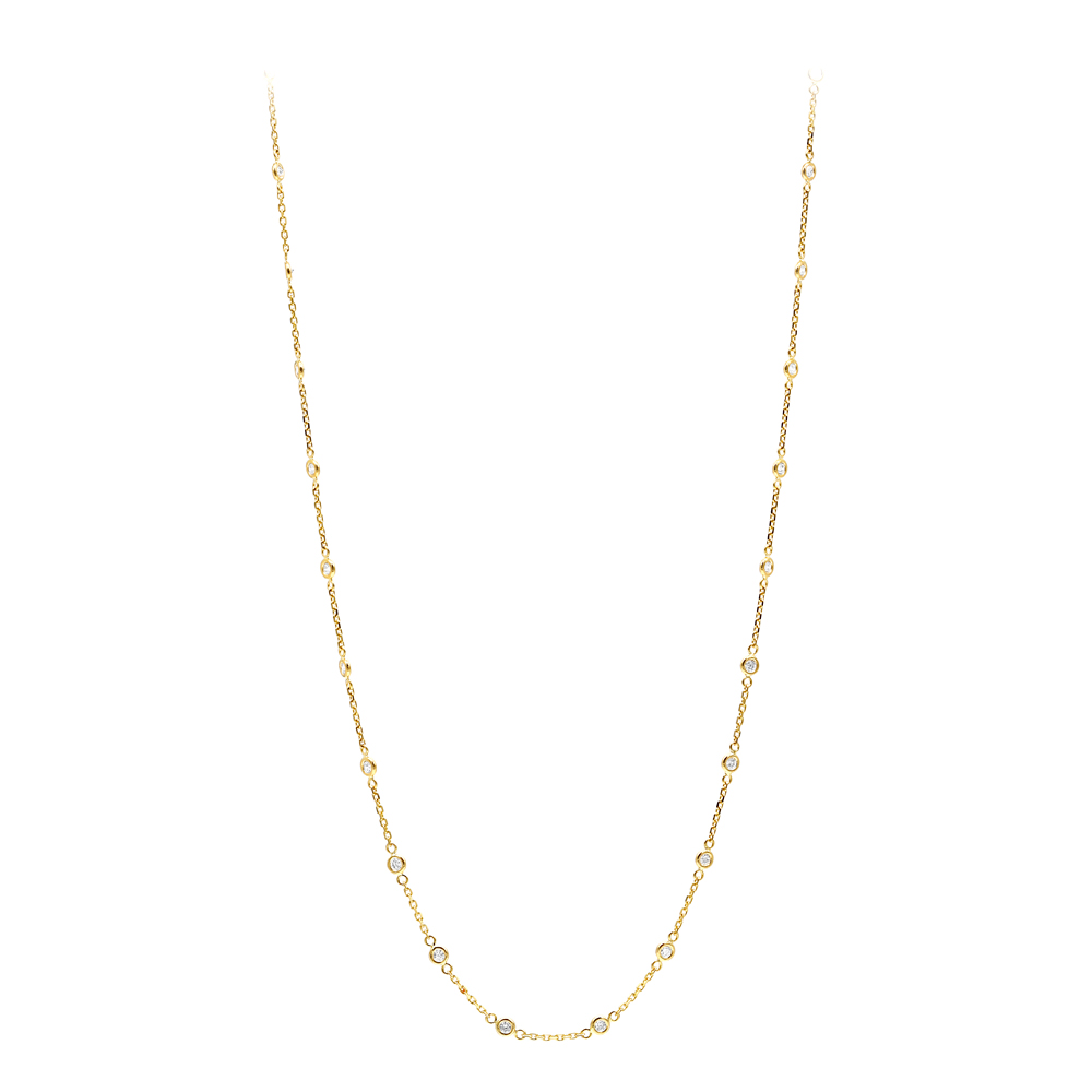 1 Carat Diamonds by the Yard Necklace in 14k White Rose Yellow Gold