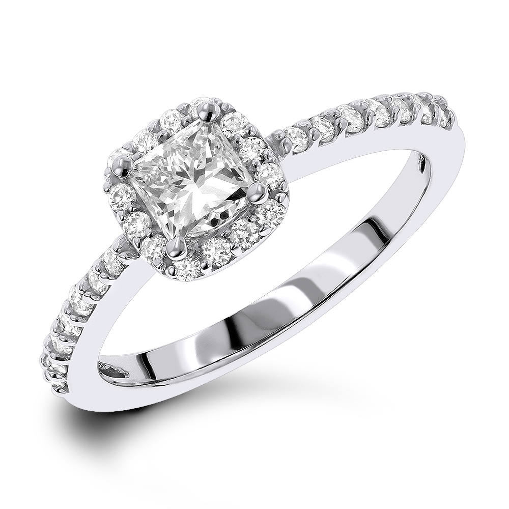 1 Carat Halo Round and Princess Cut Diamond Engagement Ring in 14k Gold White Image