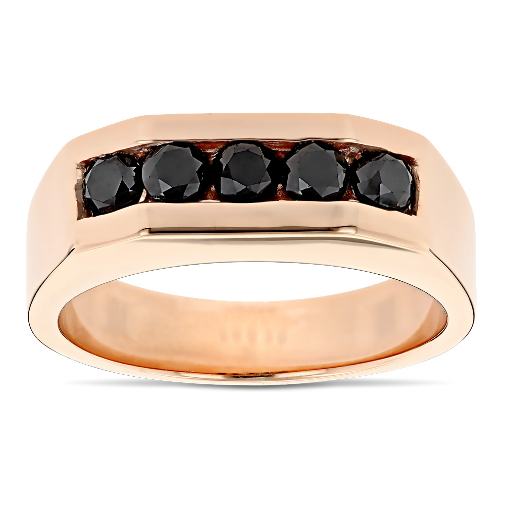 1 Carat Mens Black Diamond 5 Stone Ring Anniversary Band 14K Gold Rose Image