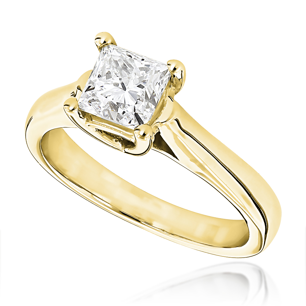 1 Carat Princesscut Solitaire Diamond Engagement Ring 14k White Gold  Ye