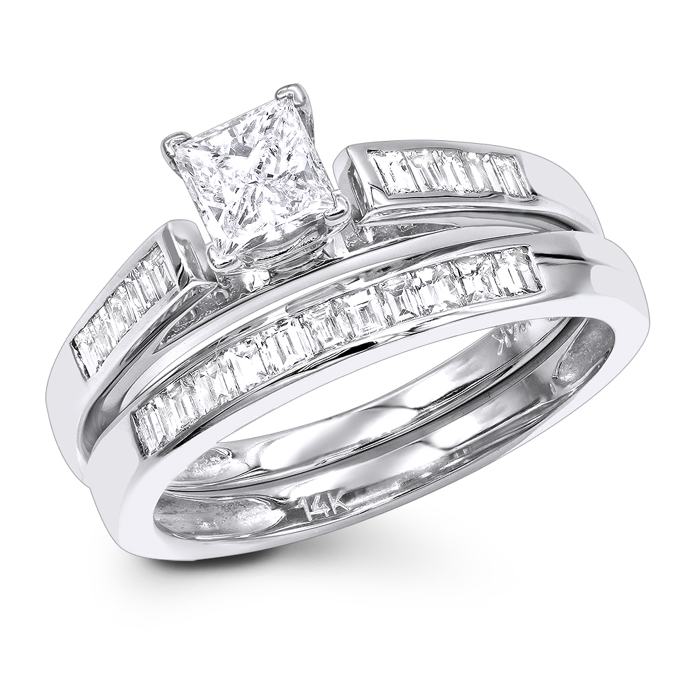 1 Carat Princess Diamond Engagement Ring Set with Band by Luxurman 14k Gold White Image