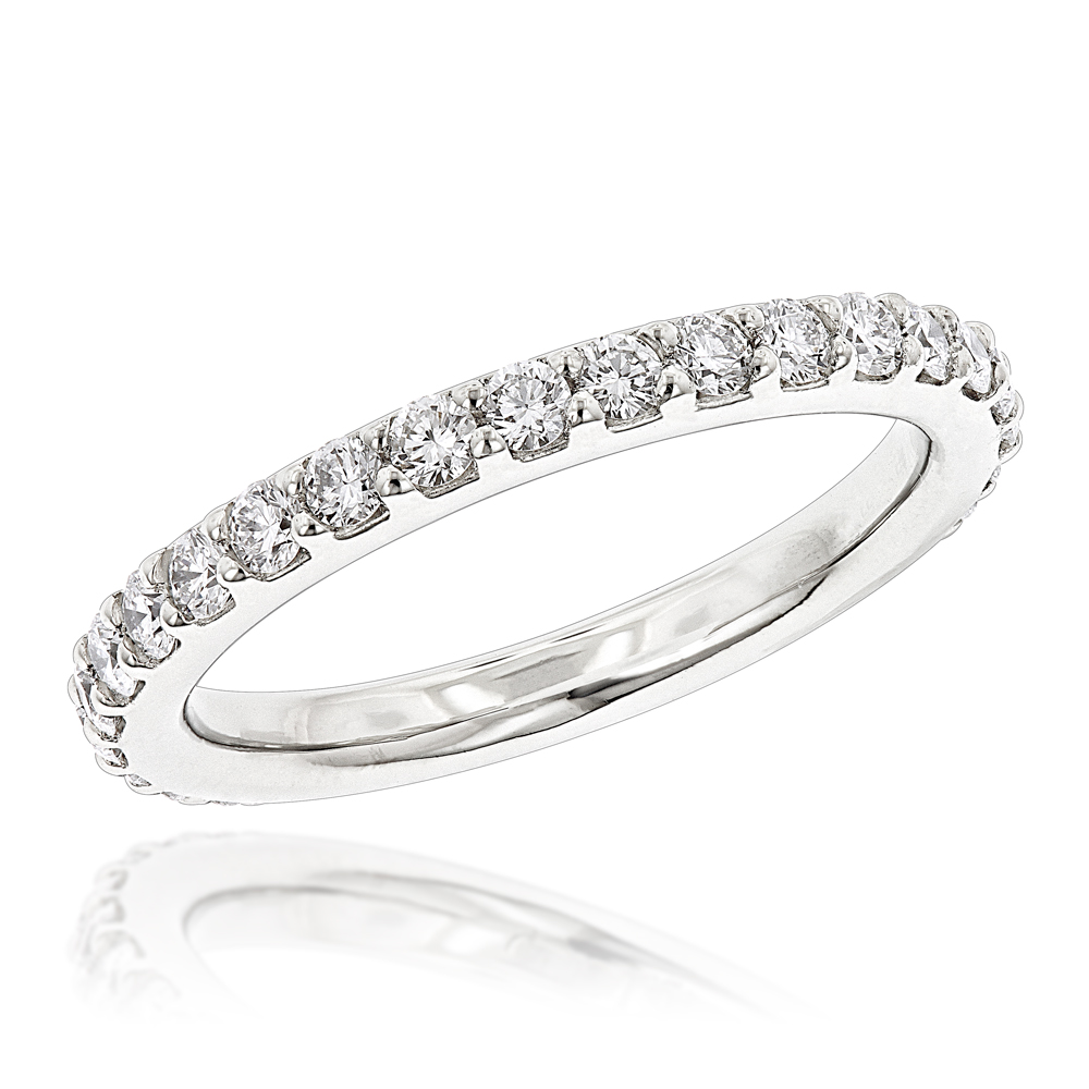 0613e88d99da 1 Carat Slim Diamond Platinum Wedding Band for Women by Luxurman Stackable  Main Image