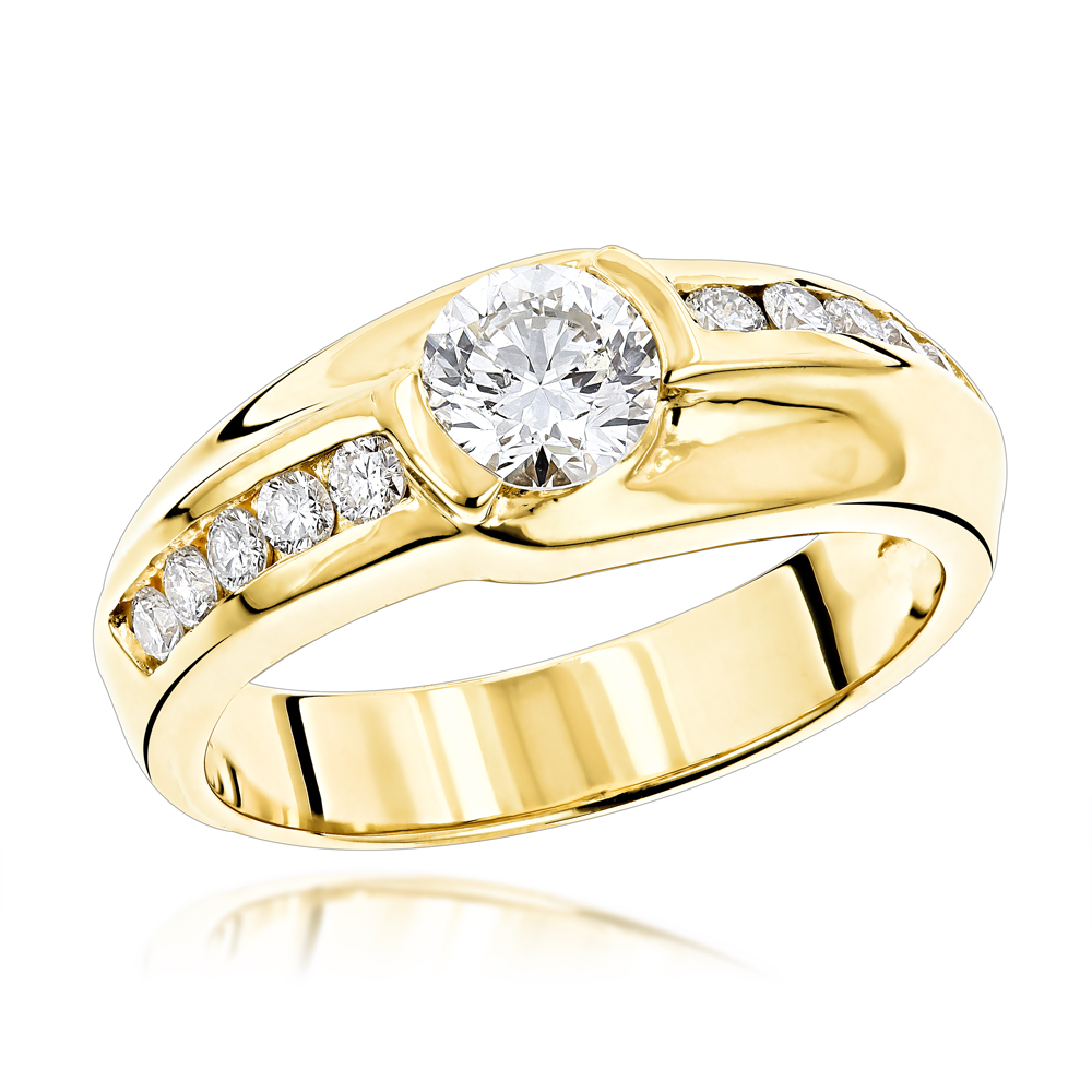 1 Carat Solitaire Mens Diamond Ring 1.5ctw 14K White, Rose or Yellow Gold Yellow Image