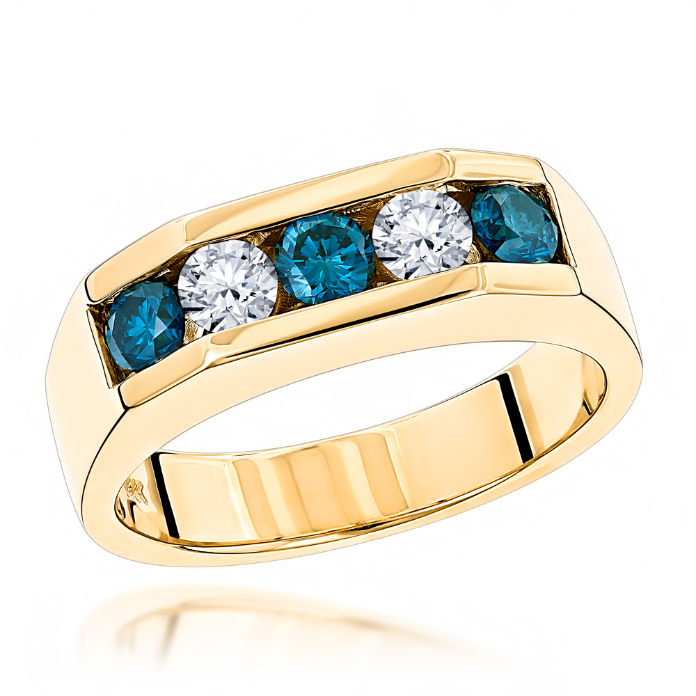 5 Stone 1 Carat White and Blue Diamond Ring: 14K Gold Mens Jewelry Yellow Image