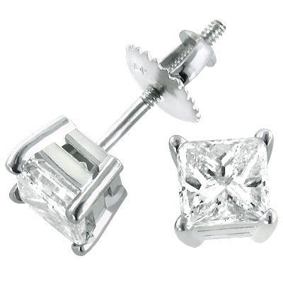 1 carat Diamond Stud Earrings w Princess Diamonds 14K White Gold Main Image