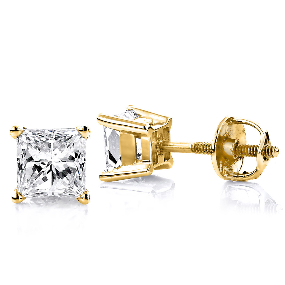 1 Carat Solitaire Princess Cut Diamond Stud Earrings 14k Gold Yellow Image