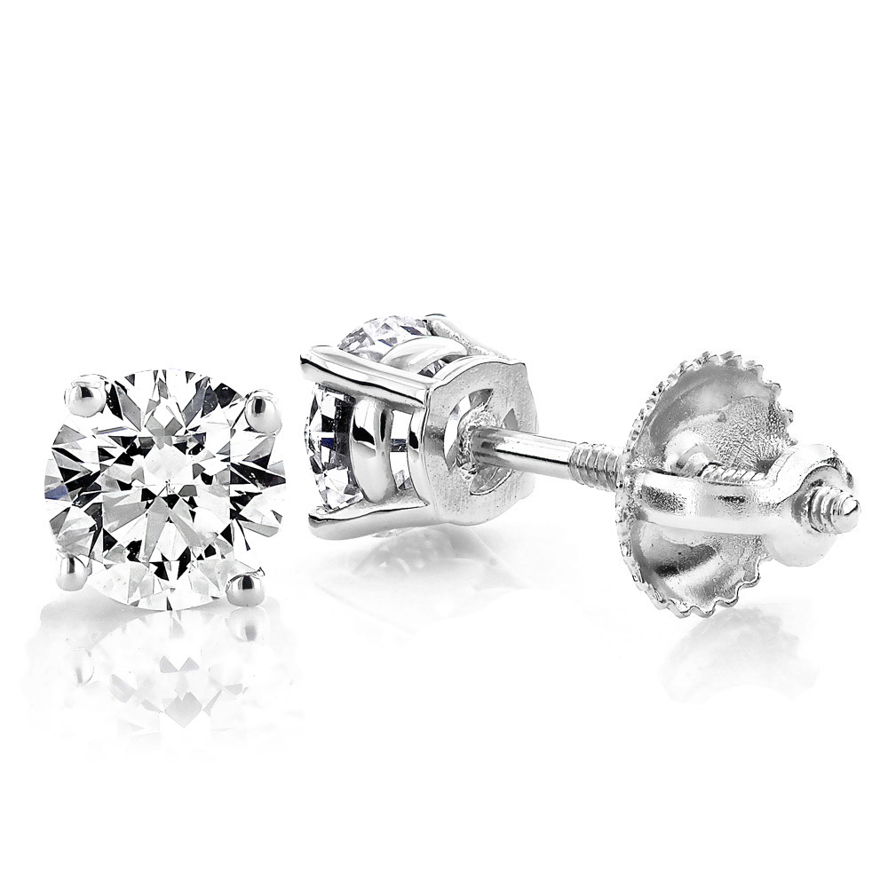 1 Carat Diamond Stud Earrings w Round Diamonds 14K White Gold White Image