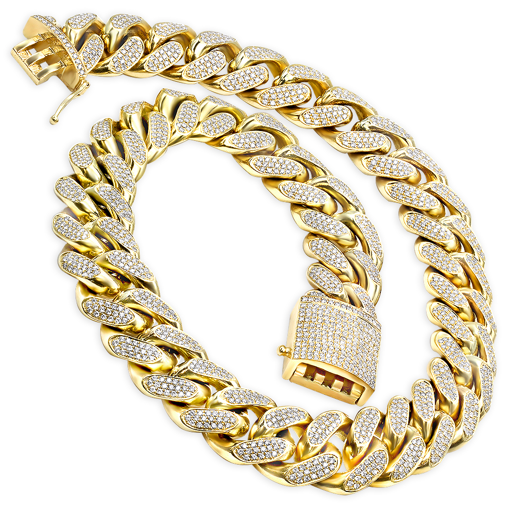 1 Kilo Full Inch Solid Cuban Link 14k Gold Mens Diamond Chain 60 Carats Yellow Image