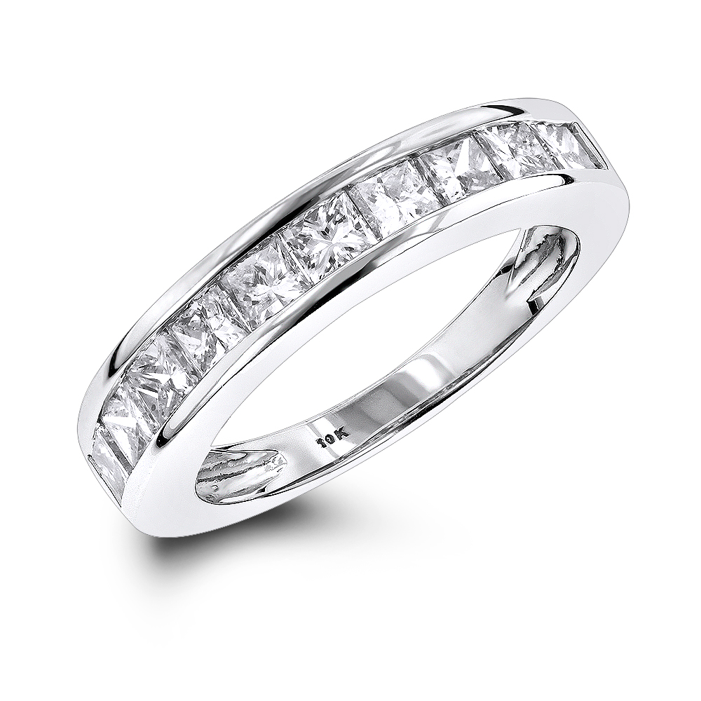 Thin 1 Row Princess Cut Diamond Wedding Band 1.65ct 10K Gold White Image
