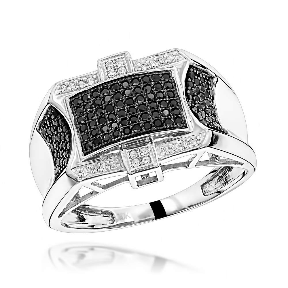 10K Black and White Mens Diamond Ring 0.5ct White Image