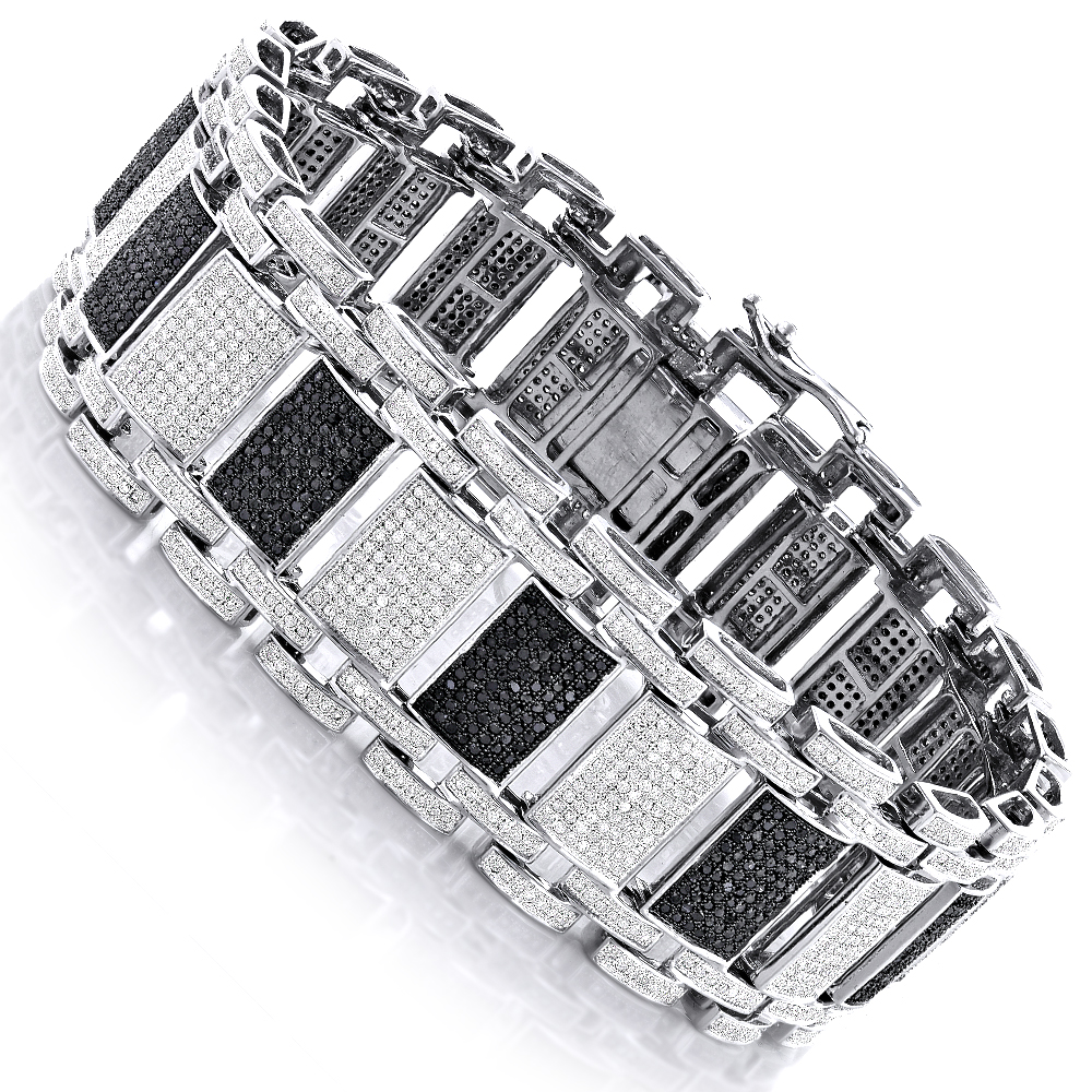 Iced Out 10K Gold Custom White Black Diamond Bracelet for Men 8.47ct Main Image