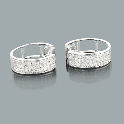 10K Gold Diamond Hoop Huggie Earrings 0.40ct Main Image