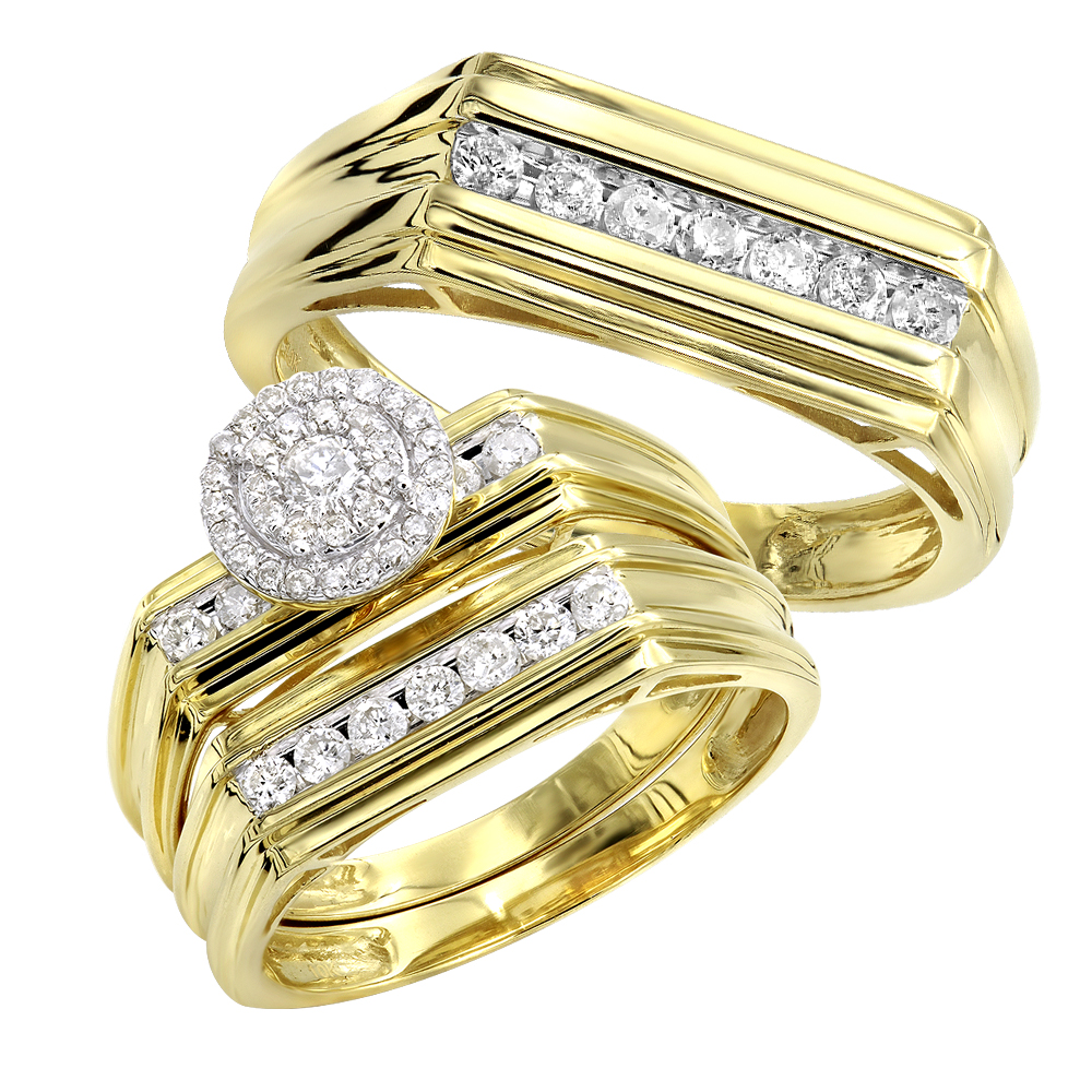 10k Gold Affordable Cluster Diamond Engagement Ring Wedding Band Trio Set Yellow Image