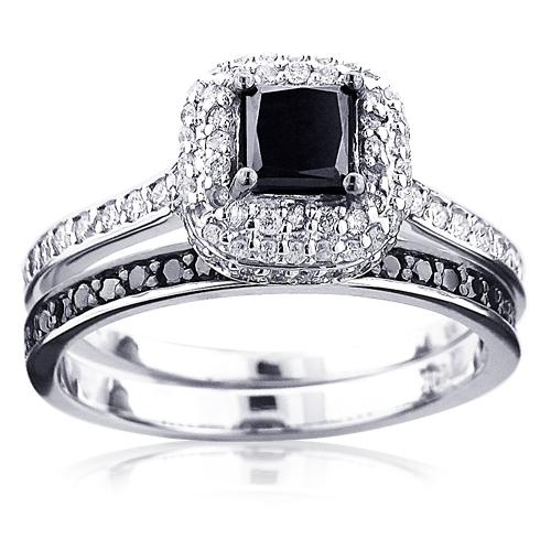 10K Gold White Black Diamond Unique Bridal Engagement Ring Set 1 2ct