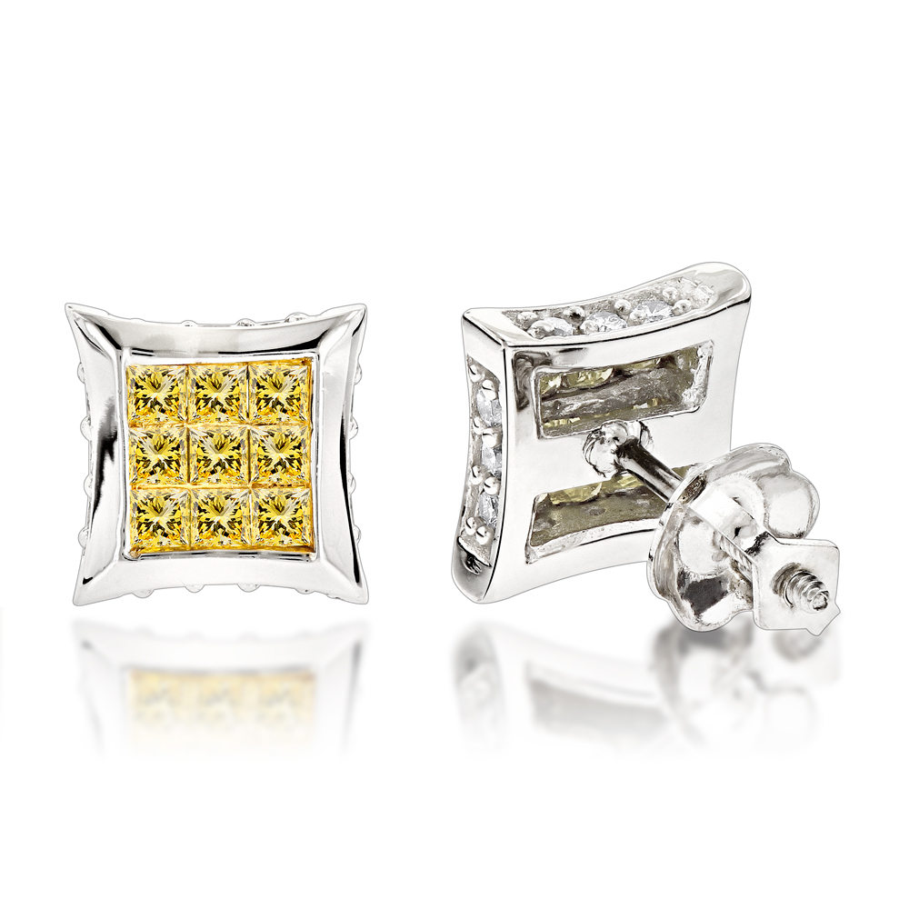 10K Gold Canary Yellow Diamond Stud Earrings 0.69ct