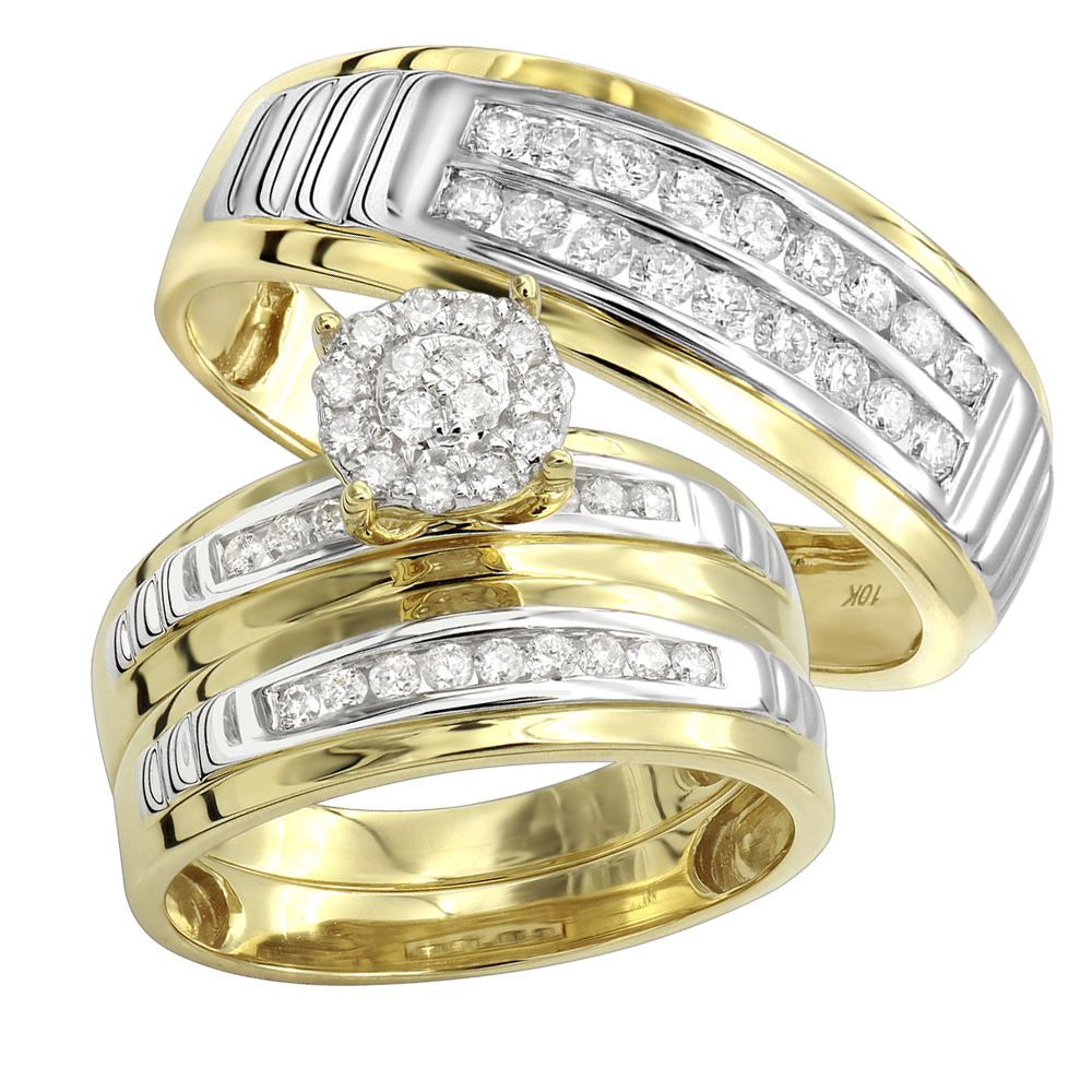 10K Gold 0.8CT Diamond Engagement Ring and Wedding Band Set Yellow Image