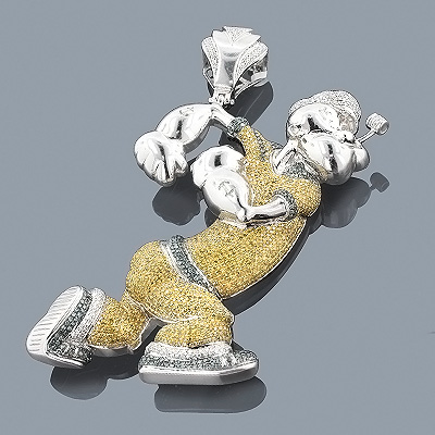 10K Gold Custom Diamond Popeye Pendant 6ct