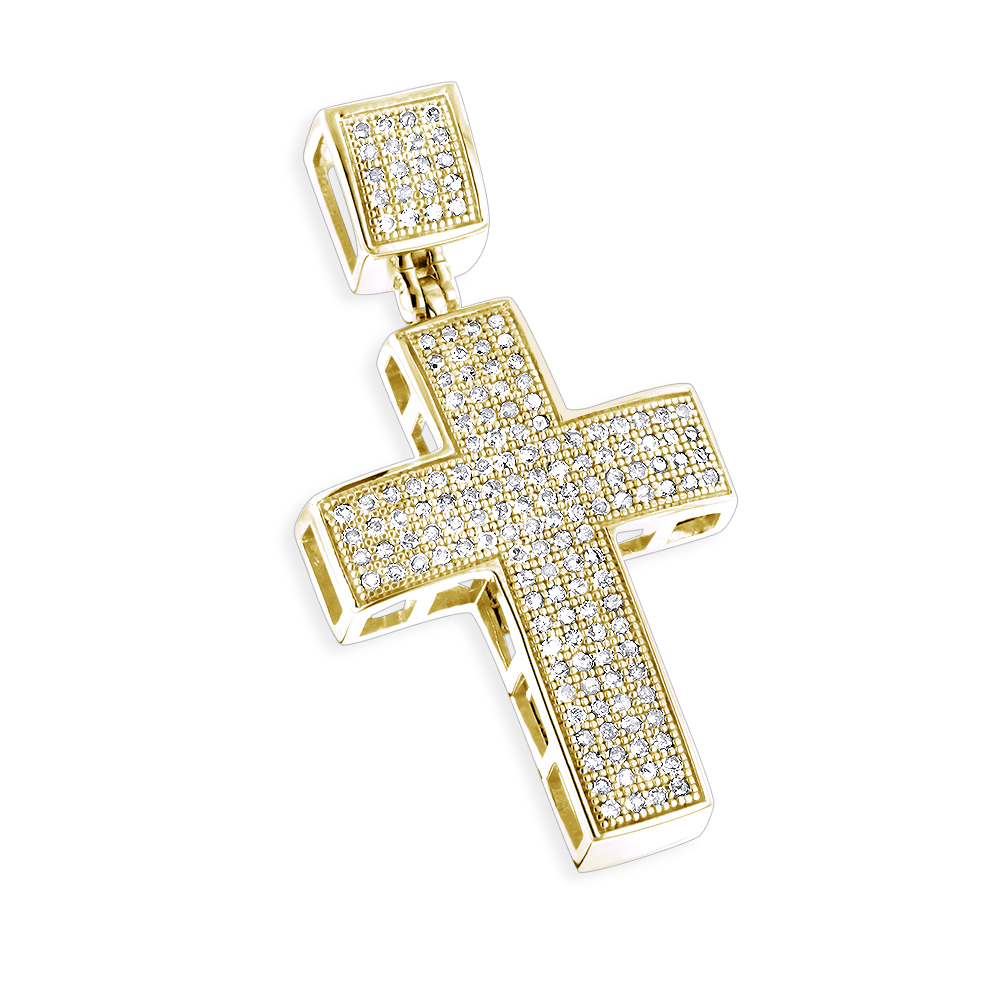 10K Gold Diamond Cross Pendant for Men 0.72ct Yellow Image