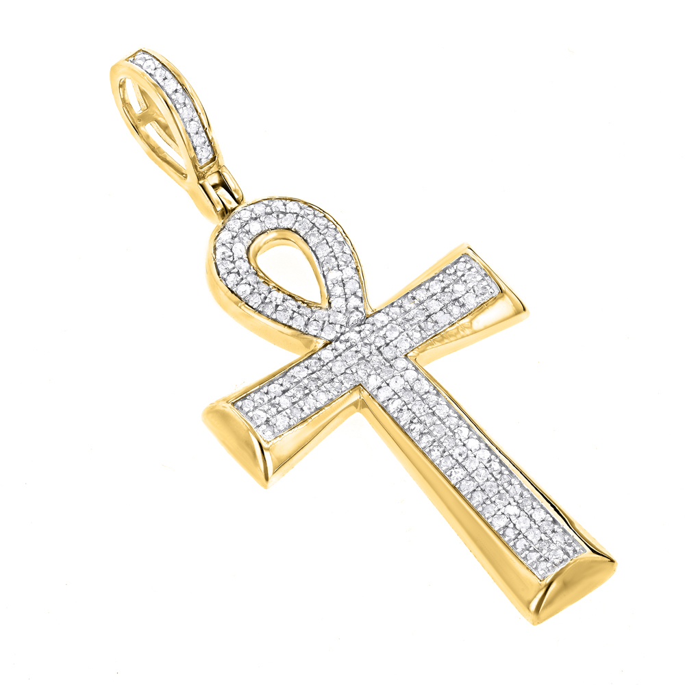 Small 10K Gold Diamond  Egyptian Cross: Ankh Pendant of Life 0.4ct Yellow Image
