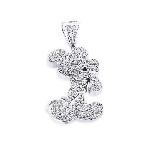 Real 10K Gold Diamond Mickey Mouse Pendant Cartoon Character 3.25ct Body Image
