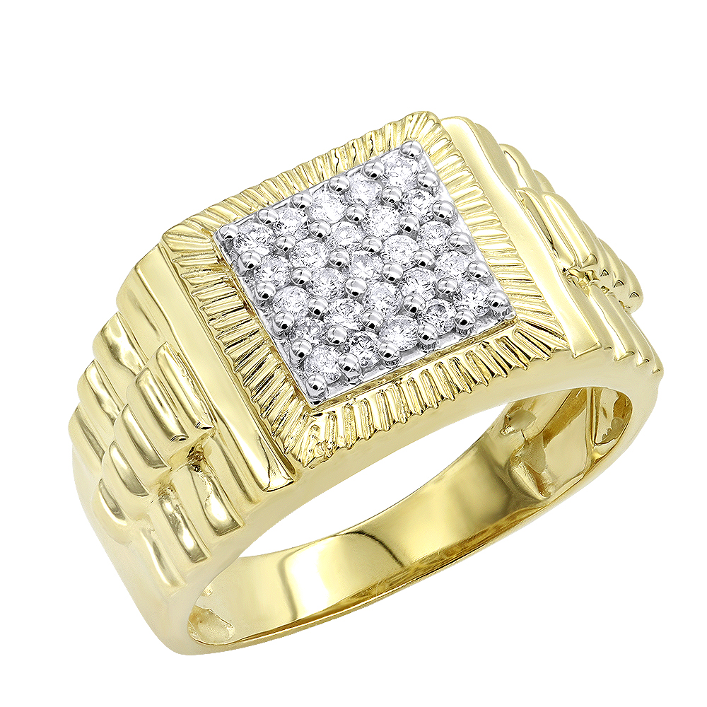 10K Gold Diamond Pinky Ring for Men 0.5ct by Luxurman Yellow Image