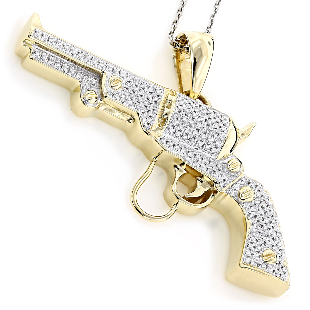10K Gold Diamond Revolver Pistol Pendant for Men 1/2ct Yellow Image