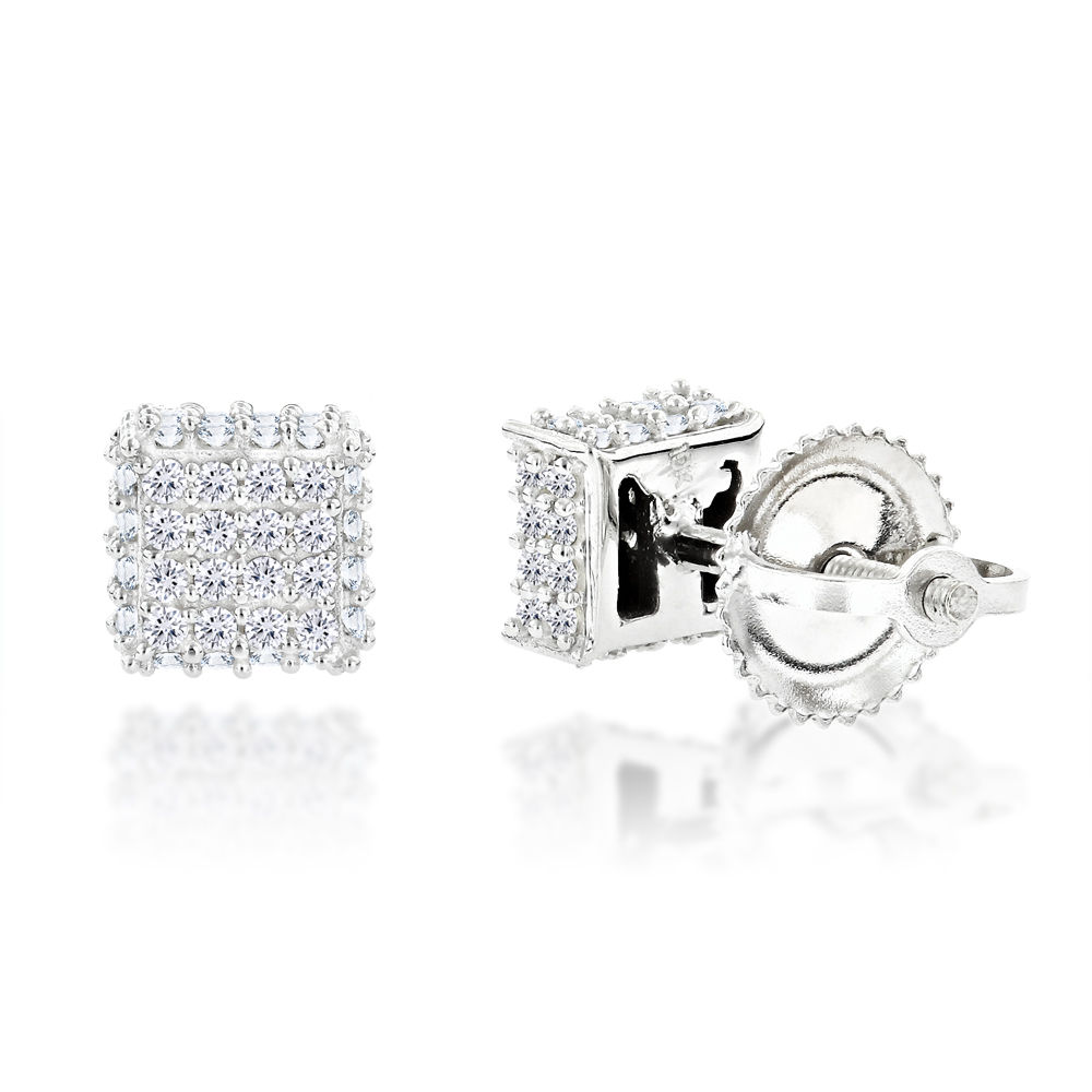 10K Gold Diamond Stud Earrings 0.33ct White Image