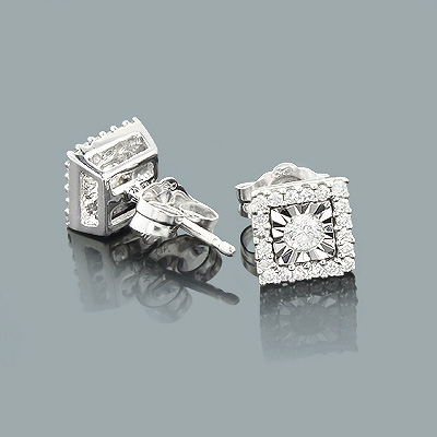 14K Gold Diamond Stud Earrings 1 carat look
