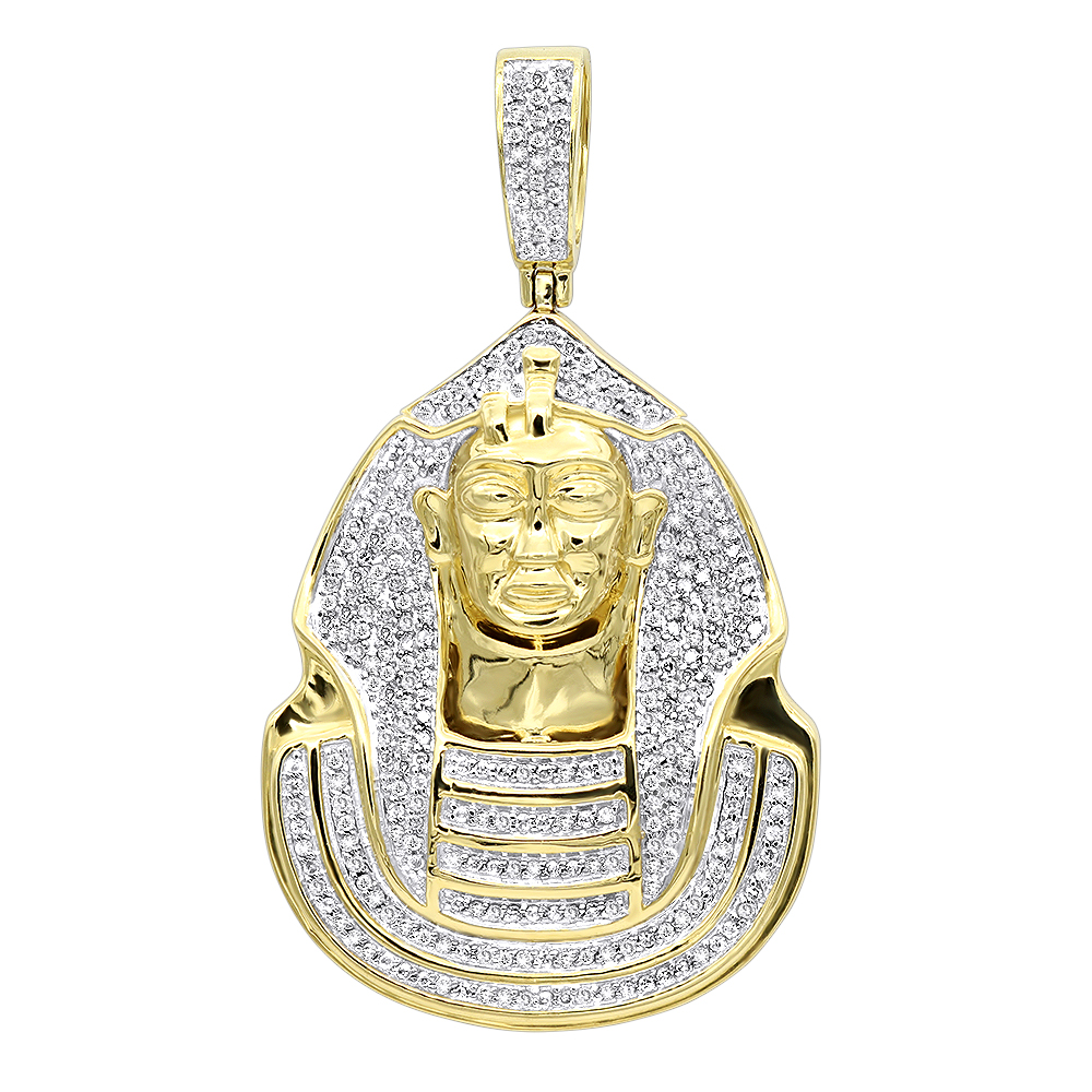10K Gold Egyptian Pharaoh Head Diamond Pendant For Men 0.9ct Yellow Image