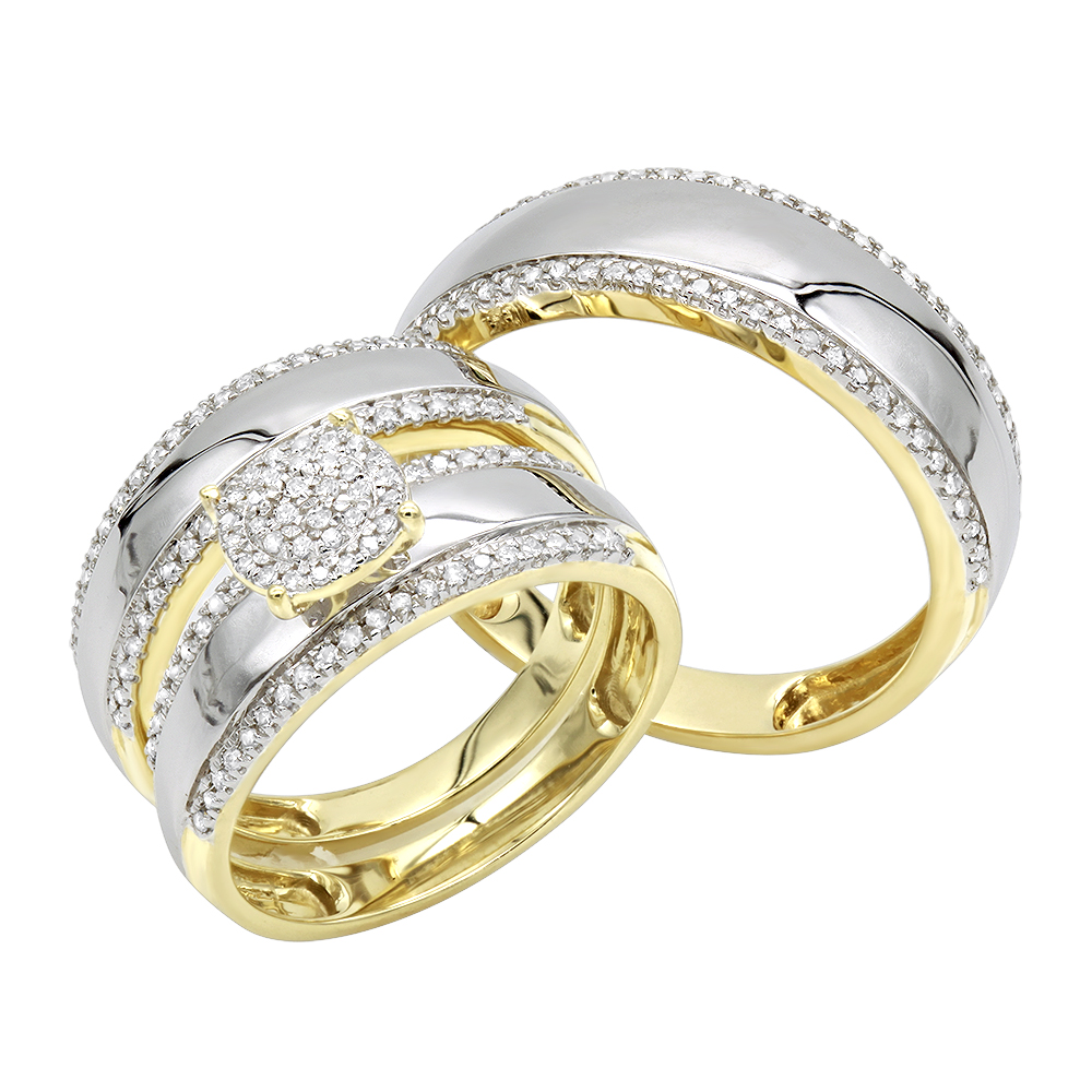 10K Gold  Engagement His and Hers Trio Diamond Wedding Ring Set 0.5ct Yellow Image