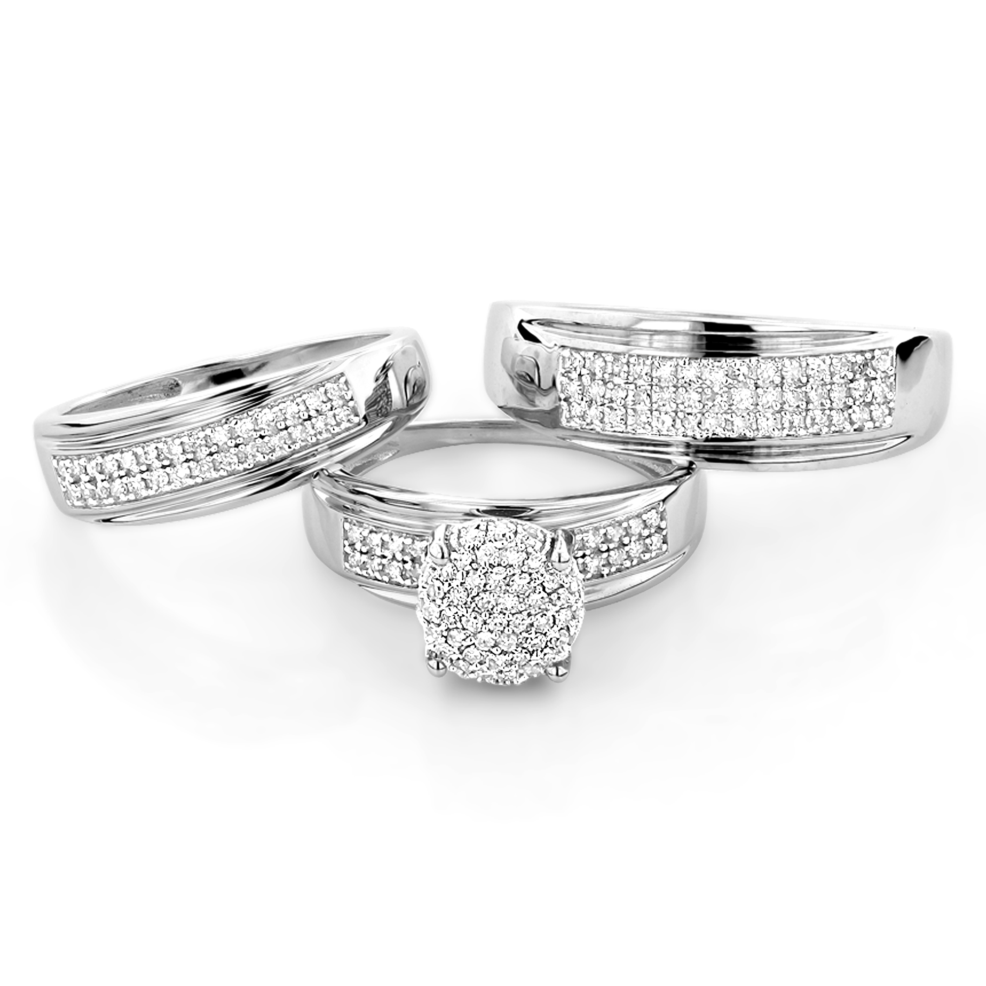 10K Gold Engagement Trio Diamond His and Hers Wedding Ring Set 0.95ct Main Image