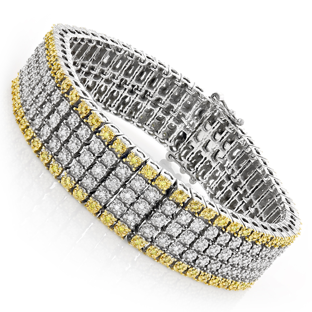 10K Gold Five Row Diamond Bracelet For Men White Yellow 1.38ct Main Image