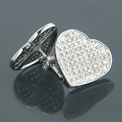 10K Gold Heart Shaped Diamond Stud Earrings 0.63ct Main Image