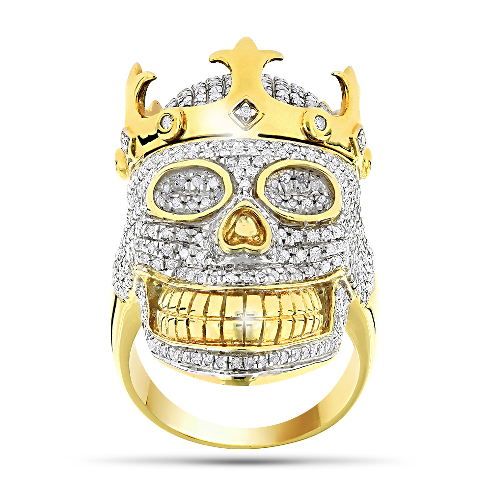 10K Gold Hip Hop Jewelry: Mens Diamond Skull Ring with Crown 2.75ct  Yellow Image